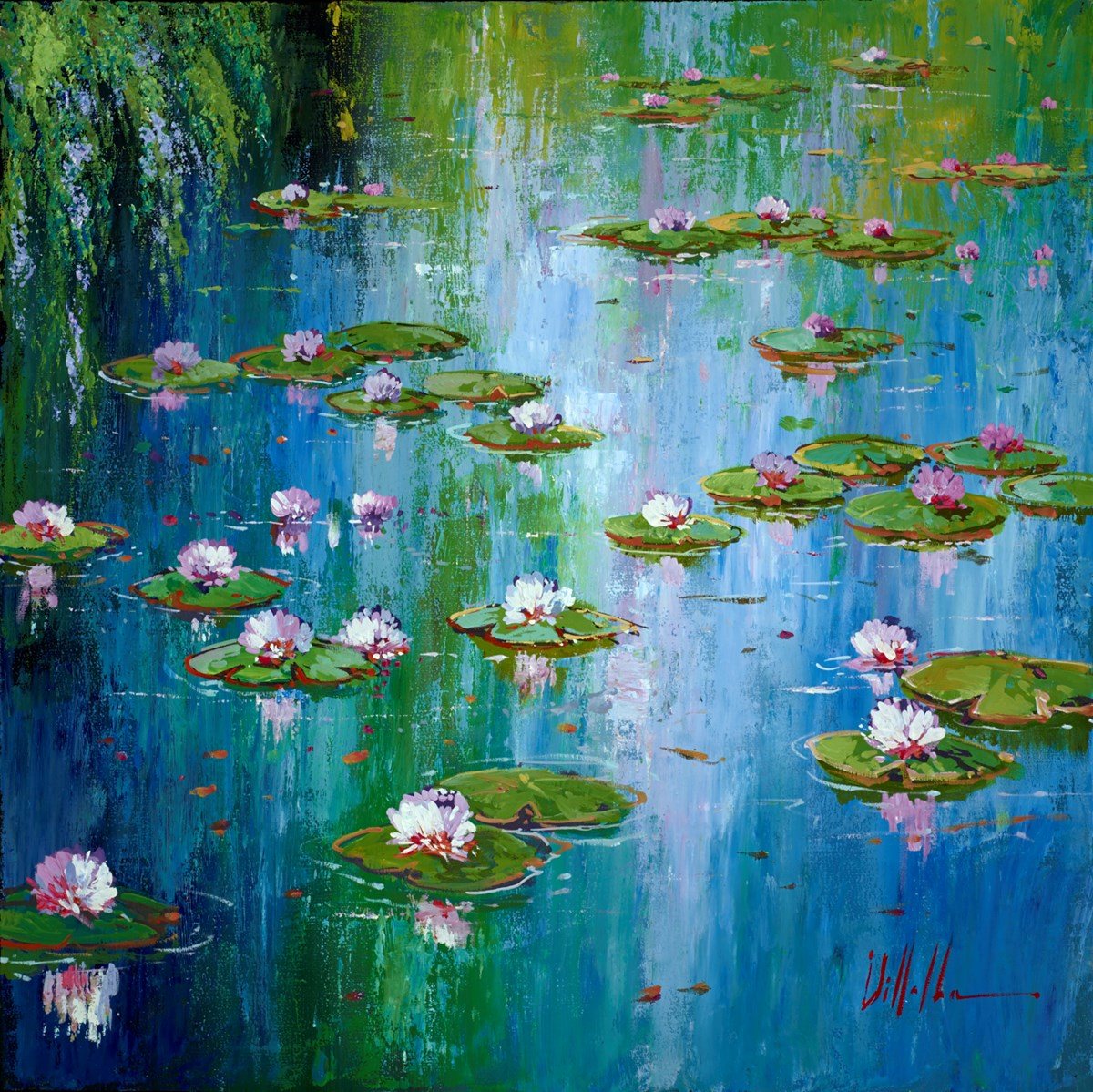 Lily Pads I by villalba -  sized 20x20 inches. Available from Whitewall Galleries